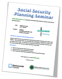 Social Security Planning Session flyer